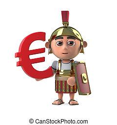 3d Roman Centurion has a Euro currency symbol.