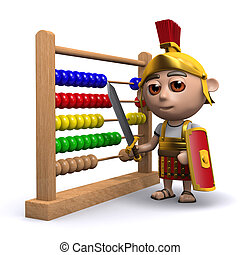 3d Roman soldier has an abacus