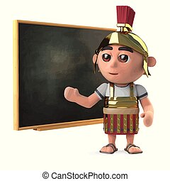 3d Roman soldier teaches at the blackboard
