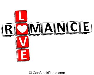 3D Romance Love Crossword text