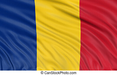 3D Romanian flag with fabric surface texture. White...