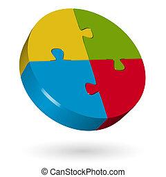3d, rompecabezas, círculo, -, 4, partes