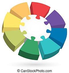 3d, rompecabezas, información, gráfico, con, centro, parte