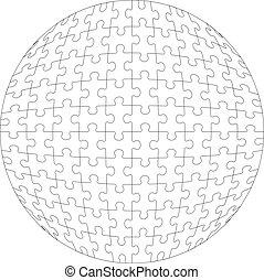 3d, rompecabezas, pelota, en, color