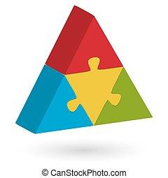 3d, rompecabezas, pirámide