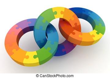 3d, rompecabezas, ruedas del color