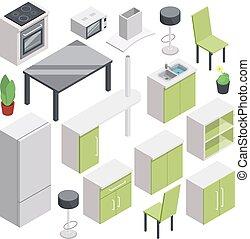 3d room design. Vector isometric furniture set for kitchen