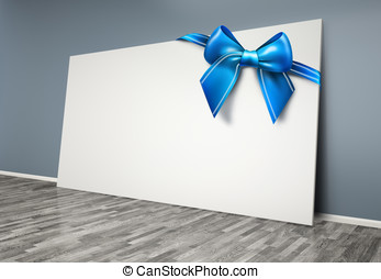 3d  room with blank poster  and blue bow