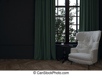 3d room with chair and curtains