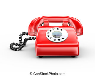 3d rotary old red telephone