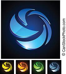 3d rotate emblems. - Vector illustration of 3d rotation...