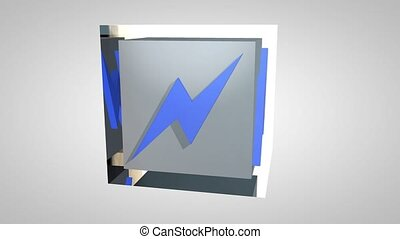 3D Rotating high voltage sign cube - 3D Rotating high...