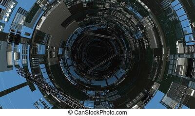 3d, rotation., lot, render, tunel, przez, ożywienie