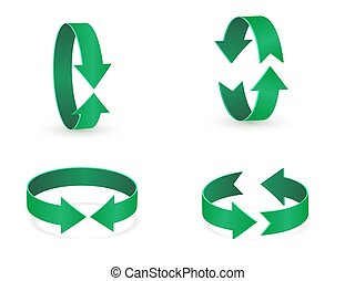 3D rotation sign green icon. 360 rotation arrows Sign.