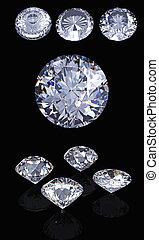 3d, rotondo, brillante, taglio, diamante, prospettiva