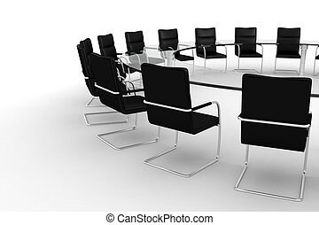 3d round conference room, isolated on white