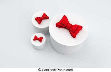 3D round gift boxes with red bow. 3D rendering