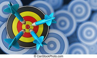 3d round target with four darts