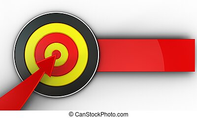 3d round target with red arrow