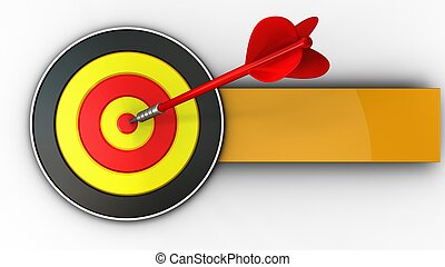 3d round target with red dart