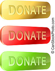 3D rounded glossy donate buttons isolated on white background.