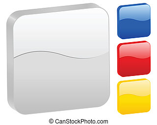 3d rounded square icon set isolated on a white background. Vector illustration.