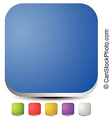 3d rounded squares. Empty icon, button backgrounds. Set of 6 colors: Blue, green, red, yellow, purple and gray button, icon templates with blank space.