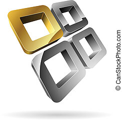 3D rounded steel squares with golden one.
