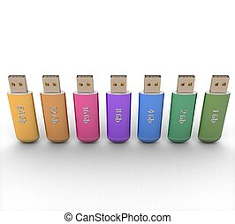 3d Row of color USB flash drives