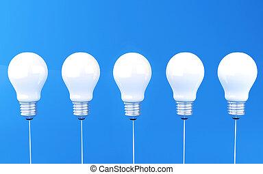 3d Row of light bulbs.