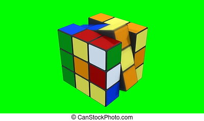 3d Rubik cube solved - Animation isolated on green screen of...