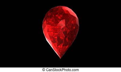 3d ruby heart spinning loop