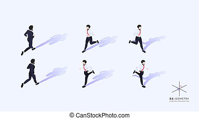 3d Running Business People. Conceptual Isometric Illustration. Dimetric Video Game Ready Projection.