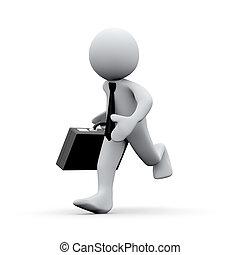 3d running businessman