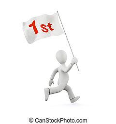 3d running man with a flag - winner