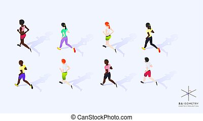 3d Running People. Conceptual Isometric Illustration. Dimetric Video Game Ready Projection.