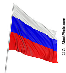 3D Russian flag with fabric surface texture. White background.