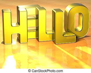 3d, słowo, tło, żółty, powitanie