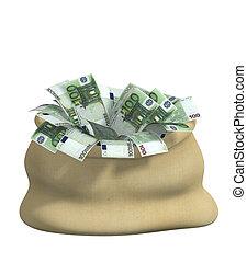 3d, sac, rempli, euro