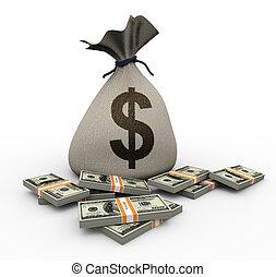3d, saco dinheiro, e, dólar, pacotes