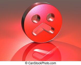 3D Sad Face Red Sign