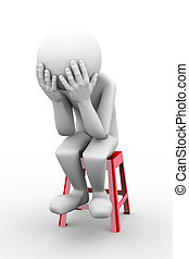 3d rendering of sad frustrated depressed person sitting on stool. 3d white people man character