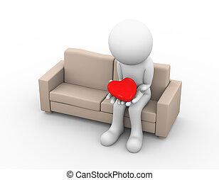 3d sad loser lover holding heart