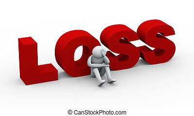 3d illustration of word loss and sad frustrated person . 3d rendering of human character.