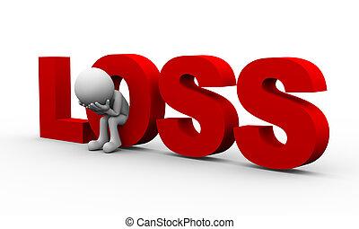 3d sad man and word loss