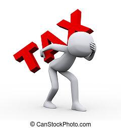 3d sad man carrying word tax