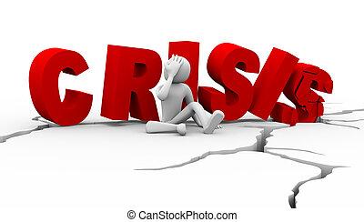 3d sad man sitting near word crisis - 3d illustration of...