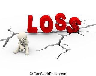 3d sad upset man cracked word loss