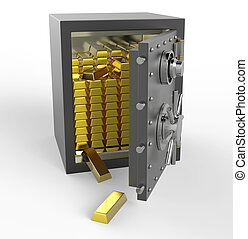 3d safe box with gold
