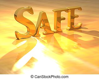 3D Safe Gold text over yellow background